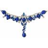 Crystal Motifs T-shape 17x8.5cm Blue Aurora Borealis/gold